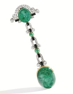 Lot 313 - Platinum, 18 Karat Gold, Emerald, Diamond, Onyx and Enamel Lapel-Watch, Verger Freres, France