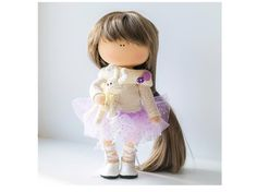 Decor doll Tilda doll Art doll handmade brown purple colors Soft doll Fabric…