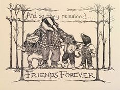 And So They Remained Friends Forever LC DeVona notecards-6 | Etsy English Gifts, Lifelong Friends, Color Bordo, Technical Pen, Ink Pen Drawings, Ink Illustrations, Friends Forever, Drawing Reference, Kenneth Grahame