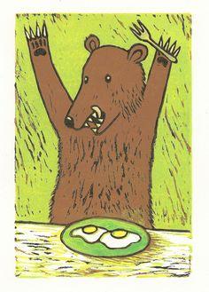 Bear with Eggs --  Linocut Reduction Print. $65.00, via Etsy.