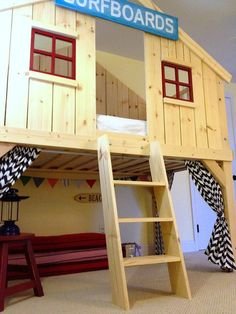 Clubhouse Bed with a FORT underneath!!! Awesome site with lots and LOTS of DIY building stuff for kids and adults (makes me want to buy a table saw).