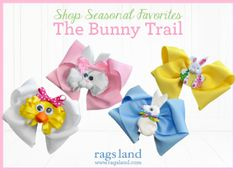 Our Rags Land Bunny Trail Bows! Shop NOW at www.ragsland.com & follow Ragsland on Instagram!