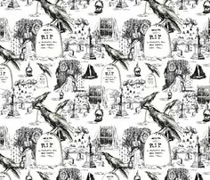 x_mystery_toile fabric by mcuetara on Spoonflower - custom fabric Halloween Fabric, Halloween Trees, Halloween Patterns, Halloween Signs, Halloween Crafts, Halloween Printable, Collage Background, Background Patterns, Unusual Wallpaper