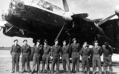 Unseen Photographs Behind the Scenes of The Dam Busters. This is the group of pilots that flew the Lancaster during the making of the film.