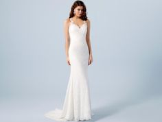 Illusion back fitted lace wedding dress. Boho look wedding. Lightweight wedding dress available at www.TheBridal-Lounge.co.uk