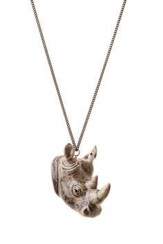 Grey Rhino Head Necklace | And Mary