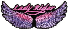 Lady Rider Wings Purple Large Patch, 10×4.5 inch, large embroidered biker patch, iron on or sew | bikeraa.com