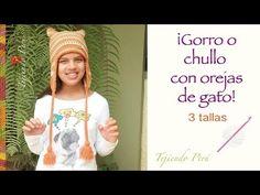 El gorro o chullo con orejas de gato más fácil de tejer a crochet (en 3 tallas)! - YouTube