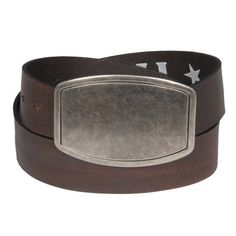 Mens Brown Genuine Leather Brown 1.6 Inch Rustic Wide Rectangular Buckle