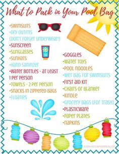 What to Pack in Your Pool Bag - Free Printable Checklist - Feels Like Home™ Beach Vacation Packing List, Beach Trip, Beach Bag Essentials, Backpack Essentials, Summer Fun List, Summer Pool, Beach Pool, Summer Beach, Summer Vibes
