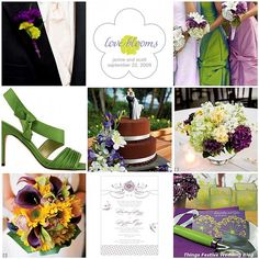 Love is in bloom in this purple, yellow and green wedding theme.