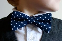 Kids Bowtie Navy Polka Dot Size 112 by threadssewfine on Etsy
