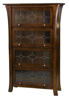 Amish Ensinada Barrister Bookcase The doors slide up and into the case, revealing shelves for storage and display. Pick from 4 glass type designs and choose anywhere from 2 doors up to 5 doors. Exquisite Amish made bookcase. Shop a barrister today!