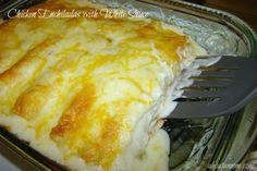 Simple Chicken Enchiladas with White Sauce