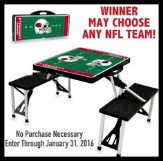 sportsfansplus #sweepstakes (1x 1/31) an NFL Portable Picnic Table valued at $140! http://virl.io/WAuOpUUe #free #giveaway  Win an NFL Portable Picnic Table valued at $140!