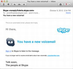 Skype Voice Mail Notification: Spam, Scam or Phishing?