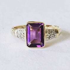 Back in stock!  This lovely 9ct Gold Amethyst & Diamond Ring is available from my Etsy store now!