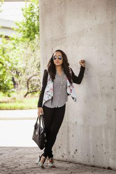 *floral jacket +black pants + black & white block heel sandals // Diary of a Southern Shopper: Hello Monday