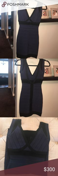 Herve Leger dress 💯 % Herve Leger dress in beautiful navy blue color worn a few times in great condition! Herve Leger Dresses Mini