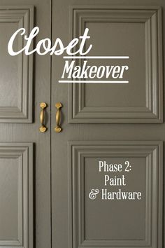 Love this color for kitchen cabinets - Behr Creek Bend.  ---->Closet Makeover Phase 2: Paint & Hardware | HowFantasticBlog.com