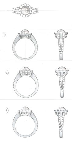 Designs for a pearl ring.