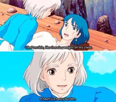 Love howls moving castle sooooo much Howl's Moving Castle, Studio Ghibli Art, Studio Ghibli Movies, Studio Ghibli Quotes, Totoro, Howl And Sophie, Animation, Angel Of Death, Hayao Miyazaki