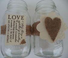 10 Burlap Primitive Hearts Handmade Mason Jar Country Wedding Decorations