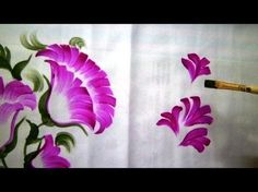 One Stroke Fabric Painting - How to paint Bed-sheet. - YouTube