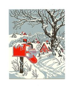 Vintage UNSIGNED Mid Century Snow Scene Christmas Card 1950's w/Envelope