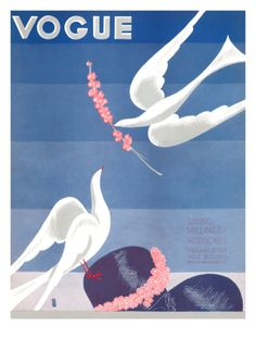 ⍌ Vintage Vogue ⍌ art and illustration for vogue magazine covers - February 1933 by Eduardo Garcia Benito