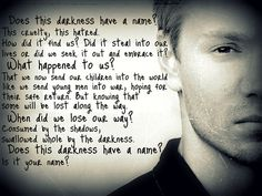 OTH quote- does this darkness have a name?-Lucas Scott. Just started at the beginning. See you all in a few months.