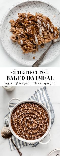 This Cinnamon Roll Baked Oatmeal is filled with warming cinnamon spices and baked to fluffy perfection, like a cross between a cozy bowl of oatmeal and a cinnamon roll! Baked Oatmeal Recipes, Vegan Breakfast Recipes, Vegan Baked Oatmeal, Baked Oats, Vegan Sweets, Healthy Desserts, Healthy Recipes, Healthy Food, Quick Healthy Meals