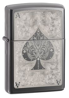 Zippo Spade Card Pocket Lighter, Black Ice: A Zippo lighter with translucent powder coat, Black ice, classic size case, finished with a Ace filigree design. This lighter requires fluid fuel. The lighter is supplied un-fueled for safety during shipping. Engraved Zippo, Army Shop, Zippo Collection, Environmentally Friendly Gifts, Lighter Fuel, Steampunk Accessoires, Cool Lighters, Custom Lighters, Steampunk Gadgets
