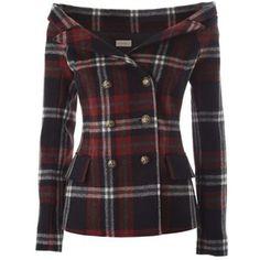 FAITH CONNEXION  Off-the-shoulder tartan wool jacket