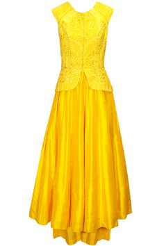 Yellow sequins embellished peplum anarkali set available only at Pernia's Pop-Up Shop.