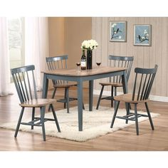 Acme Furniture Margret Two Tone Dining Side Chairs – Set of 2 – 71632 – Hazir Site Table And Bench Set, Wooden Table And Chairs, Oak Table, Blue Dining Tables, Small Dining Table Set, Acme Furniture, Dining Furniture, Furniture Design, Dining Room Design