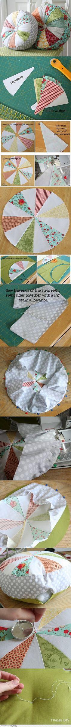 布艺 手工DIY 废物利用 制作圆靠垫的详细教程。