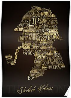 Sherlock Holmes silhouette...made from the names of all his cases! *squeal*