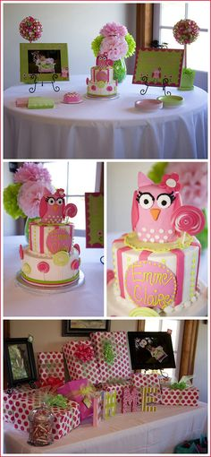 "I wanna do the ""owl"" theme for Cailey's next bday party! Owl Birthday Parties, Girl Birthday, Birthday Ideas, Birthday Cake, Owl Parties, Birthday Pictures, Birthday Gifts, Festa Angry Birds, Lollipop Party"