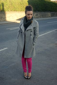 New outfit post: pink an grey... wanted coat, got it!