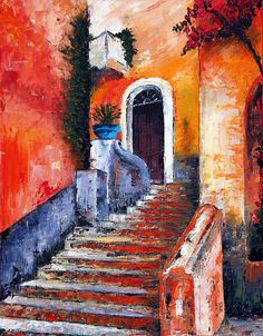 Colors Of Genoa. Palette Knife Oil Painting. No Brush