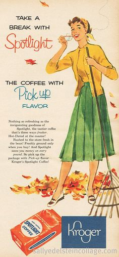 Coffee Break 1956 Love the causal sweater set and pleated skirt ensemble the busy gal in this coffee ad is wearing.Love the causal sweater set and pleated skirt ensemble the busy gal in this coffee ad is wearing.