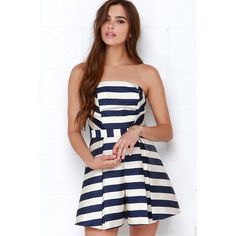 Adelyn Rae Sweet Like Honey Navy Blue Striped Strapless Romper ($39) ❤ liked on Polyvore featuring jumpsuits, rompers, blue, stripe romper, navy romper, striped romper, blue strapless romper and blue romper