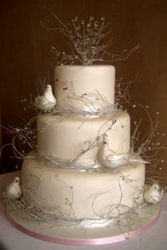 Winter Wedding Cake With Crystals And White Doves