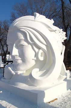 Snow sculpture on Sun Island in Harbin - China.org.cn