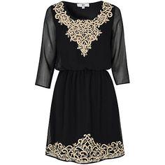 Buy True Decadence Embroidered Dress, Black Online at johnlewis.com