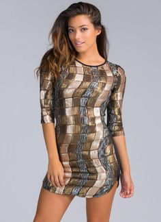 Keep On Partying Sequin Bodycon Dress GOLD - GoJane.com