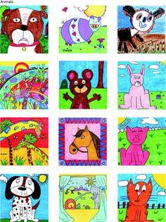 Animals grade square 1 art, square one art и square art Animal Art Projects, Animal Crafts For Kids, Art Activities For Kids, Art For Kids, Kid Art, Chalk Drawings, Animal Drawings, Square One Art, Collaborative Art