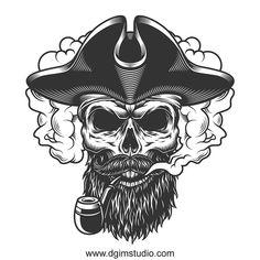 Skull in smoke cloud Free Vector Pirate Tattoo, Pirate Skull Tattoos, Skull Logo, Skull Art, Tattoo Old School, Pirate Art, Pirate Hat Drawing, Tatoo Art, Single Rose Tattoos