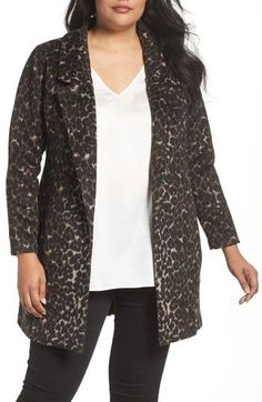 dddb6693ec2f Sejour Plus Size Women's Leopard Print Jacket Plus Size Coats, Plus Size  Women, Duster